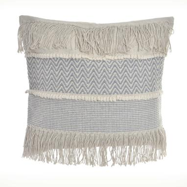 Rosb white cotton fringe cushion