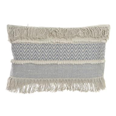 Butt white fringes cotton cushion