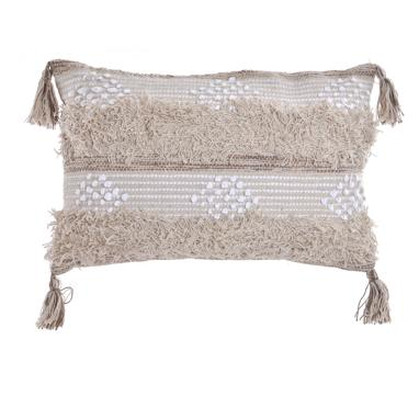 Auty white pompom cotton cushion