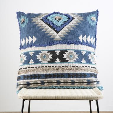 Kubi blue cotton cushion