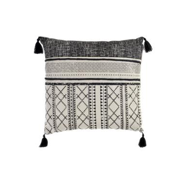 Nikk black/grey fringes cushion