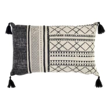 Sert black/grey fringes cushion