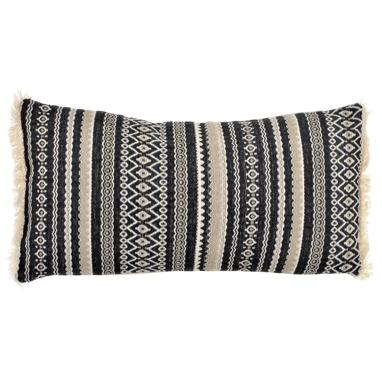 Jau black fringes cushion