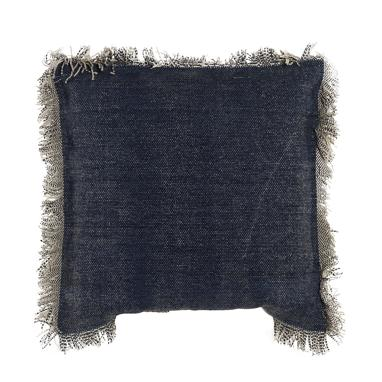 Dublin antique blue fringe cushion