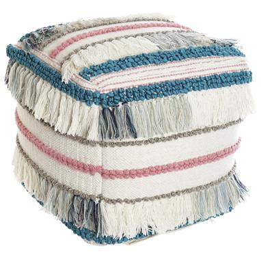 Stru cotton/wood fringes pouf