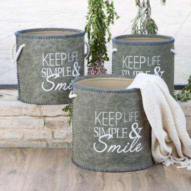 Baru green polyester smile set 3 basquets