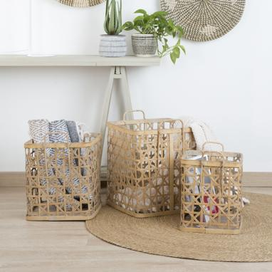 Plok set 3 cestas bambu 39x37x44 natural