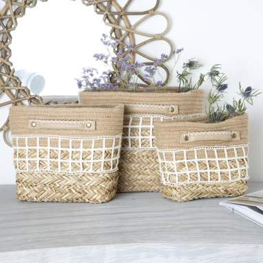 Jumm set 3 wicker baskets w/ handles