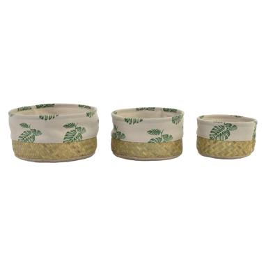 Ajux set 3 cestas fibra 26x26x13,5 tropical