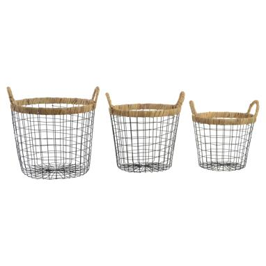 Powse set 3 black metal fibre basquet