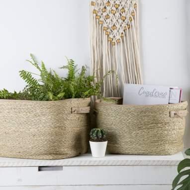 Vinta kit 2 cestas seagrass pu
