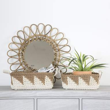 Oase set 2 cotton jute baskets