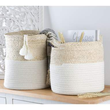 Misad set 2 white cotton fiber pompon baskets