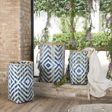 Veosa conjunto 3 cestas bambu boho azul