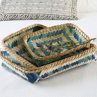 Foao set 3 blue bamboo tray