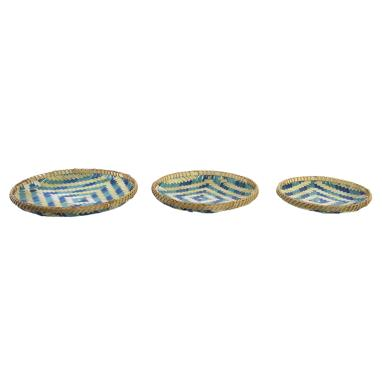 Kalie set 3 blue boho bamboo tray