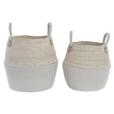 Kobe set 3 fibre cotton white baskets