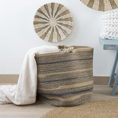 Riba brown cotton jute knot laundry basket
