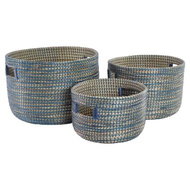 Modik set 3 blue plaited basquets