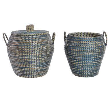 Dane set 2 blue plaited fibre basquets with handle