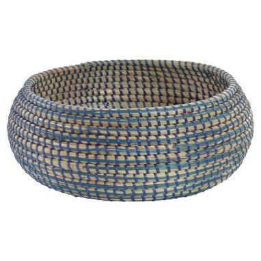 Koby round blue plaited basquet
