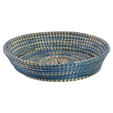 Teoh round blue plaited basquet