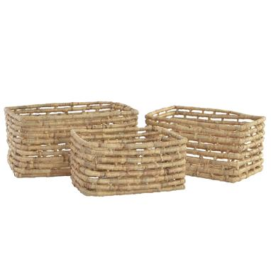 Walc set 3 brawon plaited fibre baskets