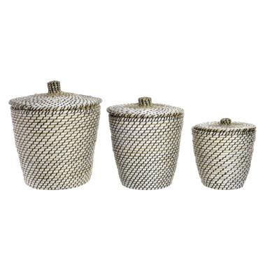 Seru set 3 fibre plaited baskets with cover