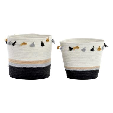 Teno set 2 white/black fringes baskets