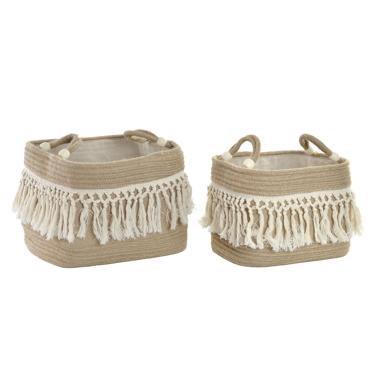 Drul set 2 natural jute fringe baskets