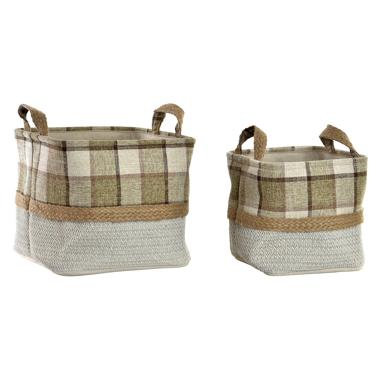 Edox set 2 jute square plaited baskets