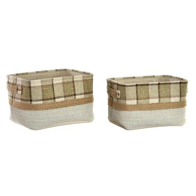 Nein set 2 jute square plaited baskets