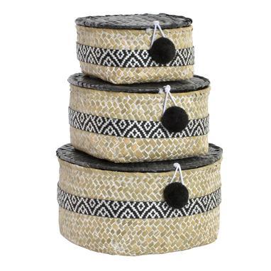 Bret cesta set 3 fibra poliester 20x20x10 boho negro