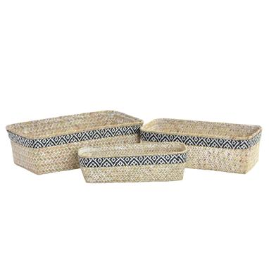 Zaly boho black fibre set 3 baskets