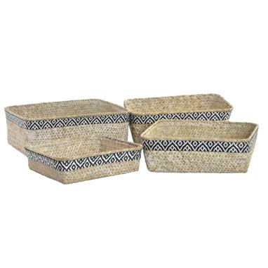 Soray boho black fibre polyester set 4 baskets