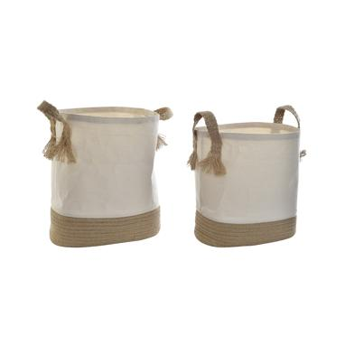 Tiqe set 2 natural fibres laundry baskets