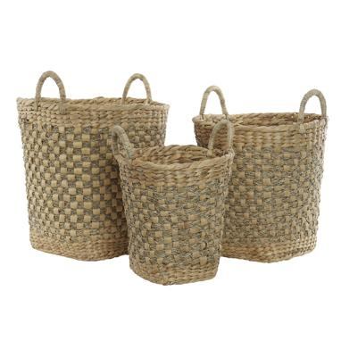 Paky set 3 plaited fibre rush baskets