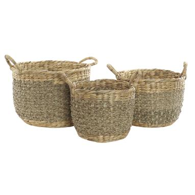 Pako set 3 plaited fibre rush baskets