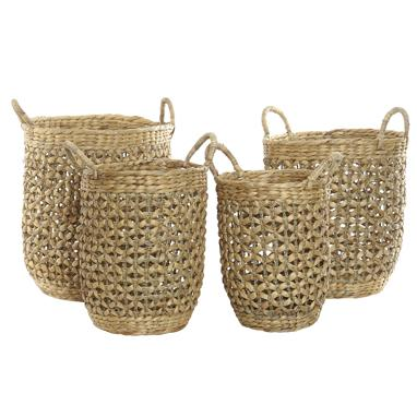 Paky set 4 plaited fibre rush baskets