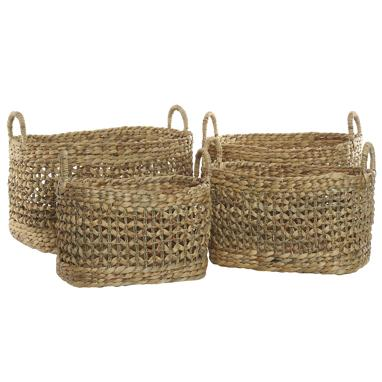 Pake set 4 plaited fibre baskets
