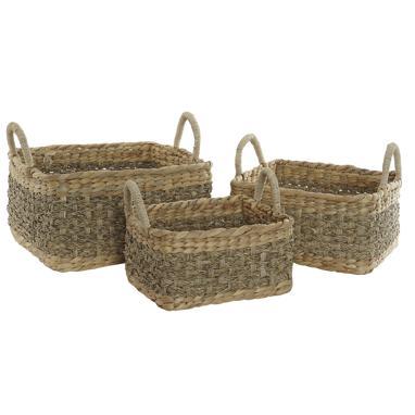 Paka set 3 cestas fibra  junco 36x38x29 asa trenzado