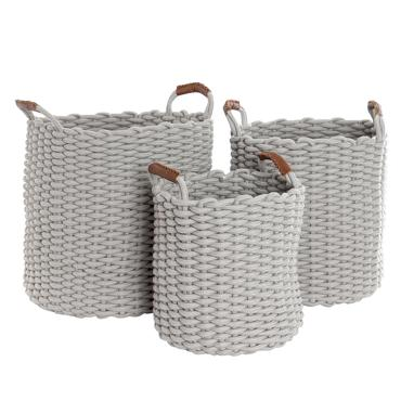 Mely set 3 light grey cotton baskets