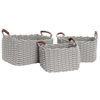 Moly set 3 light grey cotton baskets