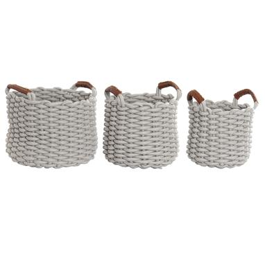 Mily set 3 light grey cotton baskets