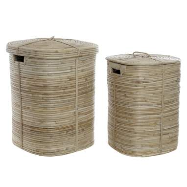 Muly set 2 natural ratan laundry baskets