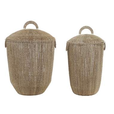 Naty set 2 cesta jute metal 45x45x64 asa natural