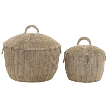 Maly set 2 cesta jute metal 50x50x40 asa natural