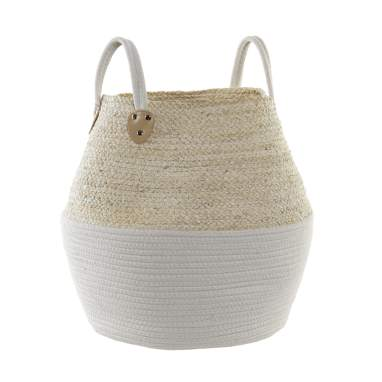 Lety white plaited cotton fibre basket