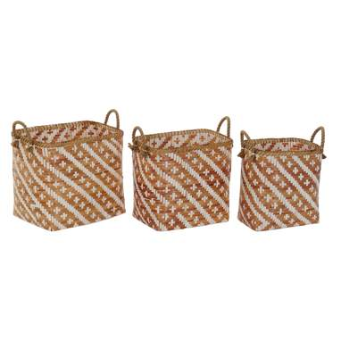 Bawt set 3 brown bamboo baskets