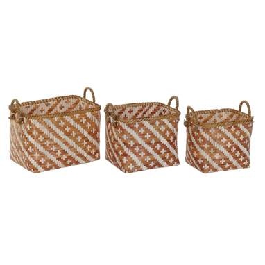 Acas set 3 brown bamboo baskets